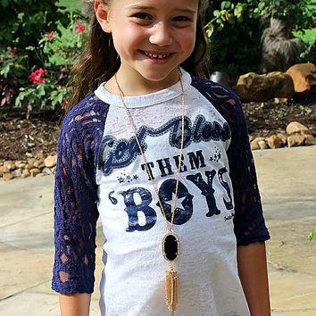 Kid's God Bless Them Boys Baseball Burnout Tee with Navy Sleeves