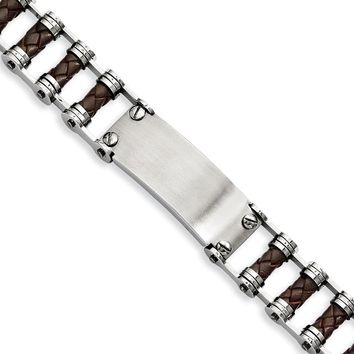 Stainless Steel Bike Chain Style W/ Brown Woven Leather Id Bracelet - 20mm