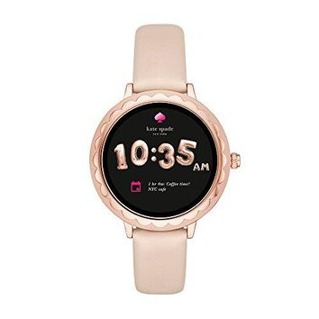 Kate Spade New York, Women's Smartwatch, Scallop Rose Gold-Tone Stainless Steel with Vachetta Leather, KST2003
