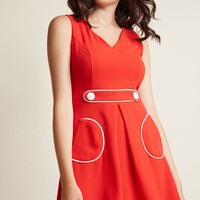 Obsessed With Retro A-Line Dress in Candy Apple