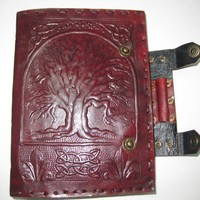 Leather Journal cum folder Fat Celtic Tree of Life Pure Genuine Leather  Bound Journal Notebook Travel Blank Diary/Sketchbook scrapbook