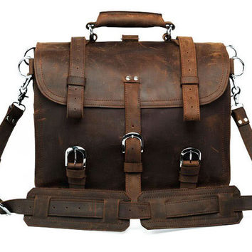 Crazy Horse Leather Men's Briefcase Backpack Travel Bag Huge