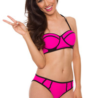 Marisol Bathing Top - Hot Pink