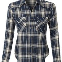 LE3NO Womens Loose Plaid Button Down Shirt with Pockets (CLEARANCE)
