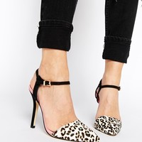 Miss KG Adele Two Part Leopard Print Heeled Shoes