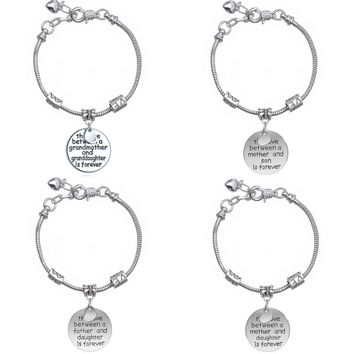 Family Gift Women Jewelry Love Between Grandmother Granddaughter Mother Daughter Charm Pendant Circle Bangle Bracelet