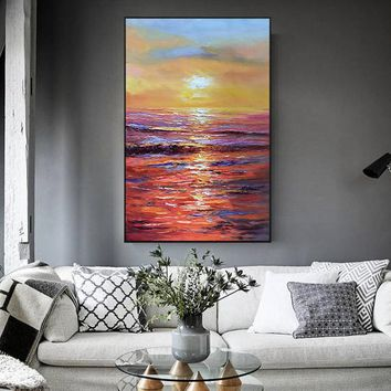 Sea Waves Modern Abstract original oil painting on canvas sunrise texture Large Wall Art Pictures for living room home quadros decoracion