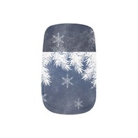 Elegant Navy Blue Snowflake Pine Winter