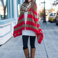 City Stripes Cardigan, Tan/Coral