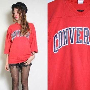 CREYUG7 80s CONVERSE Sweater - Vintage Red Jersey - Sweatshirt Crewneck - Sports Sporty - Over