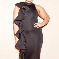 Plus Size Long Cascade Dress
