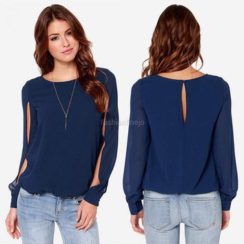 Zeagoo® Womens Plus Casual Long Split Sleeve Pure Color Chiffon Tops Blouse