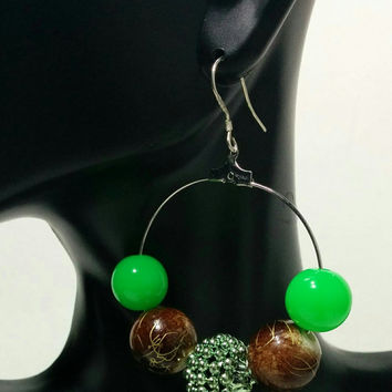 Earth Tone Hoops Green & Brown Ear Hoops Dangling Beaded Jewelry Celebrity Style Accessories  .925 sterling silver Hoops