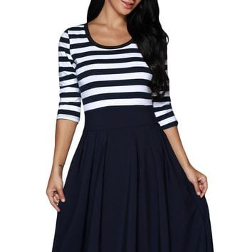 Navy White Stripes Scoop Neck Sleeved Casual Swing Dress