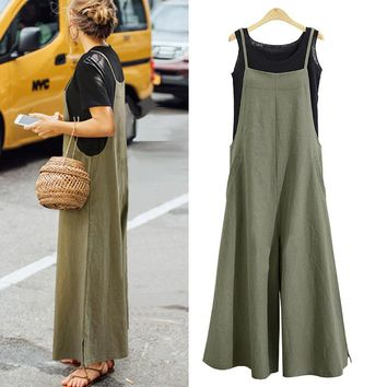 Summer ZANZEA Women Cotton Linen Wide Leg Romper Casual Strappy Sleeveless Loose Long Jumpsuit Dungaree Party Overalls
