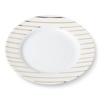 "Appetizer Plate 6"" White/Gold Stripes Porcelain - Threshold™ : Target"