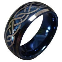 8mm Blue Tungsten Carbide Wedding Ring Laser Celtic Knot Engagement Promise Band