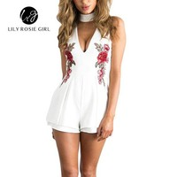 LCMFON 2016 Autumn Elegant V Neck Rose Florla Embroidery Women Playsuits Sleeveless White Winter Rompers Jumpsuits Casual Beach Overall