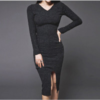 Korean Split Waist Thin Dress