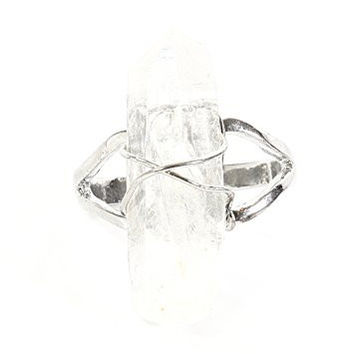 Clear Quartz Crystal Ring Silver Tone Wire Setting RL04 Cocktail Statement Fashion Jewelry