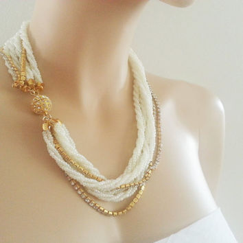 Ivory Wedding Necklace Bridal Gold Rhinestone Chunky Twisted Bead Pearl Layered Mother Gift Jewelry
