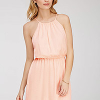 Crinkled Satin Halter Dress
