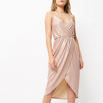Pink metallic wrap slip dress - bodycon dresses - dresses - women