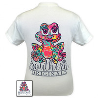 Girlie Girl Originals Southern Preppy Frog Pattern White T-Shirt