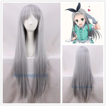 Japanese Anime Blend S Kanzaki Hideri Aus Straight Long Silver-gray Cosplay Wig Halloween Role Play