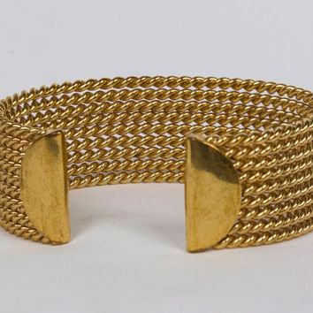 Vintage Avon Goldtone Bracelet Arm Cuff, Simple and Dramatic, Gift less than 15