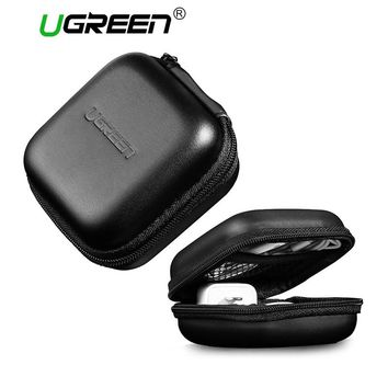 Ugreen Headphone Case Bag Portable Earphone Earbuds Hard Box Storage for Memory Card USB Cable Organizer Mini Earphone Bag