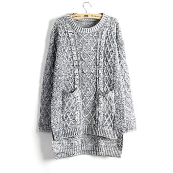 Casual Knit Sleeve Sweater Coat Cardigan Jacket Top Blous [8422522753]