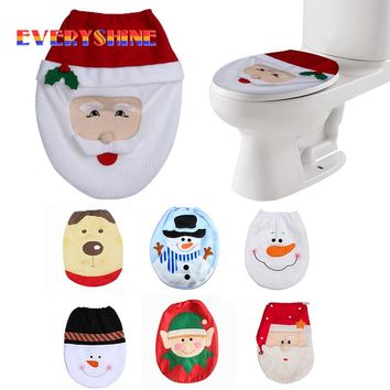 Christmas Decorations For Home Snowman Santa Claus Toilet Seat Cover Toilet lid Elf New Year Xmas Christmas Ornaments SD306