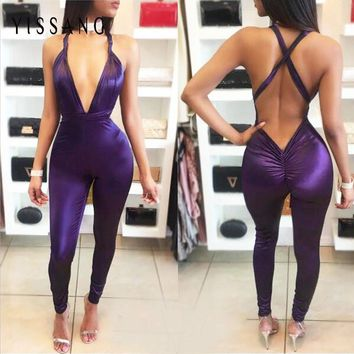 Yissang 2017 Women Summer Style Sexy Rompers Strap Deep V Backless Bandage Bodycon Pants Long Jumpsuits Macacao