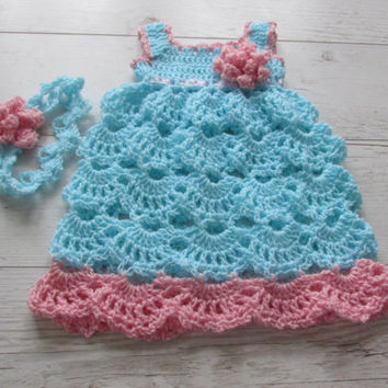Crochet Baby Dress Headband PATTERN Gift For Baby Girl Babyshower Newborn To 12 months Crochet Newborn Dress Pattern