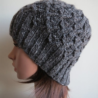 Hand-knit, Textured Diamond-Cabled, Chunky wool, Slouchy Beanie Hat in Charcoal Black