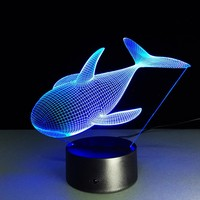 3D Orca Whale Night Lamp With Visual Light Effects  Changes Colors by Touch Switch  With or Without Remote Control