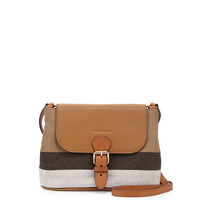 Brit Small Grainy Canvas Messenger Bag, Saddle Brown - Burberry