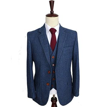 Wool Blue Herringbone Retro gentleman style custom made Men's suits tailor suit Blazer suits for men 3 piece (Jacket+Pants+Vest)