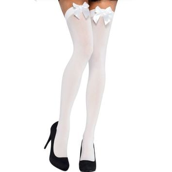 Adult White Thigh-High Stockings with Bows