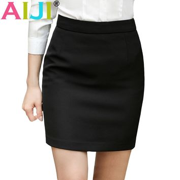 AIJI office ladies formal Slim hip skirt brief tailored skirt for women simple all-match plus size pencil skirt black color