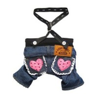 Stylish Dog Jeans Dog Pants Denim Dog Overalls Cute Dog Jumpsuit Pet Clothes Free Shipping,Heart,M