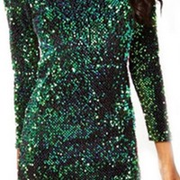 Emerald Green Sequin Long Sleeve Boat Neck V Back Bodycon Mini Dress