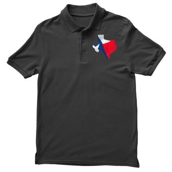 Eroded Texas Map With Flag Polo Shirt
