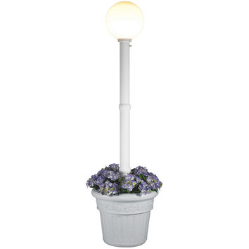 Milano White with White Globe Lantern Planter