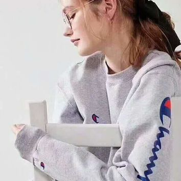 Champion Casual Fashion Sport Monogram Print Long Sleeve Sweater Grey G-A-XYCL