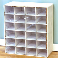 White 24 Pair Shoe Storage Chest Organizer Bedroom Closet Organization