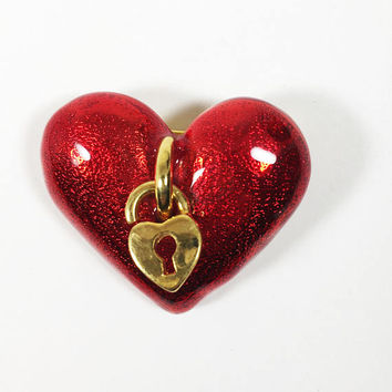 Red Heart Pin, Valentine's Day Brooch, Sparkle Enamel Heart and Lock Gift for Her