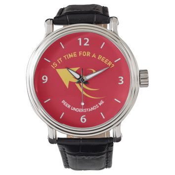 Red and yellow beer quote watch