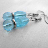 Sky Blue Glow in the Dark Glass Drop Earrings